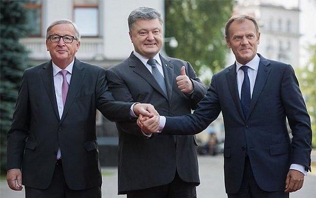 Дональд Туск, Петр Порошенко и Жан-Клод Юнкер (справа-налево)
