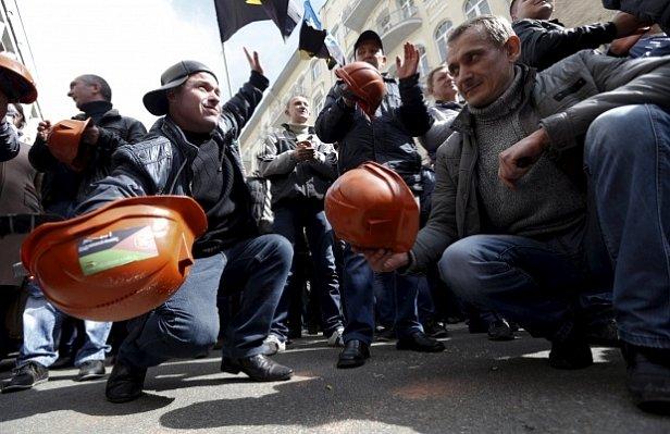 На митинге шахтеров в Киеве произошла потасовка