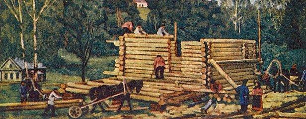 Константин Юон, «Постройка дома», первая половина XX века