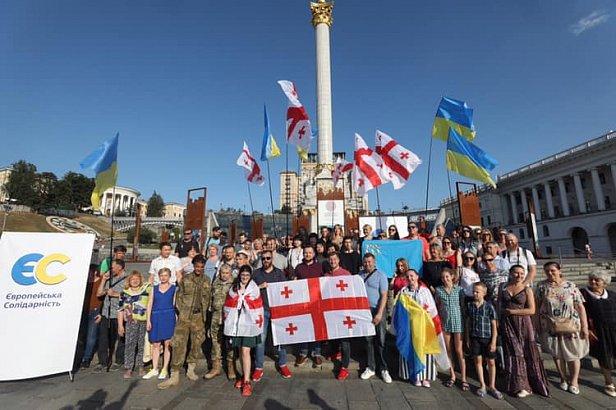 Фото - Партия Порошенко провела акцию в поддержку народа Грузии