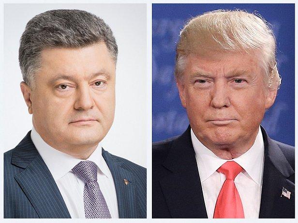 На фото Дональд Трамп и Петр Порошенко