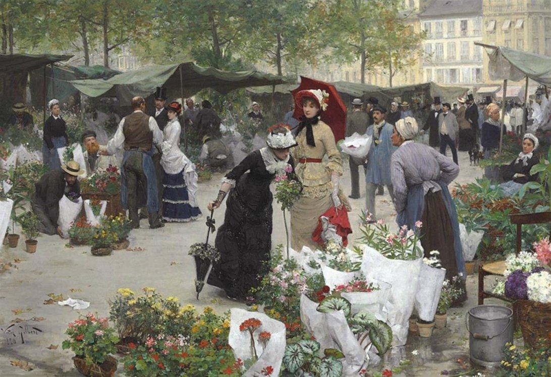 Виктор Жильбер, «Цветочный рынок», XIX-XX век